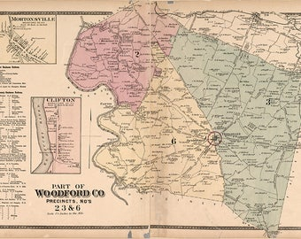 1877 Map of Nothern Woodford County Kentucky
