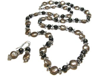 Distinctive Hand Crafted Sterling Silver, Glass and Wood Vintage Modern Beaded Necklace and Earrings By SoniaMcD
