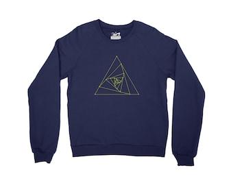 Geometry Crewneck Sweater - Pyramid Design Top - UK Streetwear in Navy Blue, Marl Grey, Black or White Organic Cotton Sweater Jumper