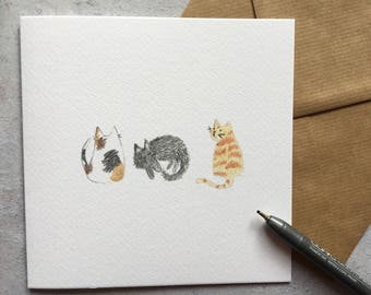 3 cats (tabby, black cat, marmalade) cute, quirky, cat lady, cat person, animal lover card