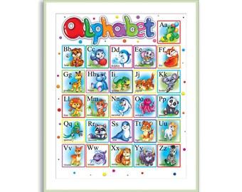 Alphabet Ausdrucken Englische ABC Kindergarten Wand Kunst Tier Fr Kinder Zimmer Dekor Kinderspielzimmer