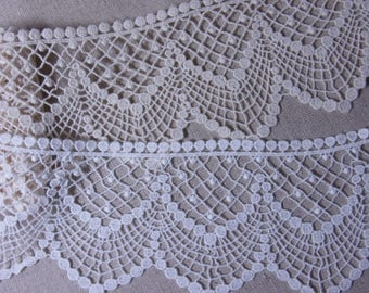"""Lovely Embroidered Crochet  Cotton Lace Trim DIY Craft Ivory 9cm(3.5"""") Wide 1yard #2421"""