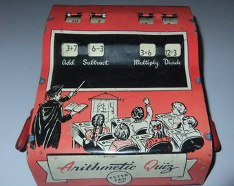 Instructional Educational Arithmetic Quiz vintage c1960s tinplate till toy by Peter Pan made in England