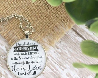 Christ Alone Cornerstone Necklace/ Christian Jewelry