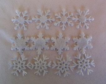 Set of 12 - Felt Snowflakes , Felt Snowflake Scrapbooking, Felt Snowflake Die Cut, Felt Die Cut, Felt Snowflake, Felt Die Cut Snowflake