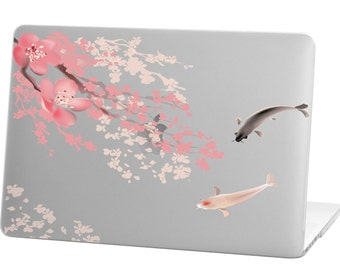 Macbook Pro 13 inch Rubberized Hard Case for model A1706 & A1708 with/without Touch Bar, Koi Fish Cherry Design with Clear Bottom Case