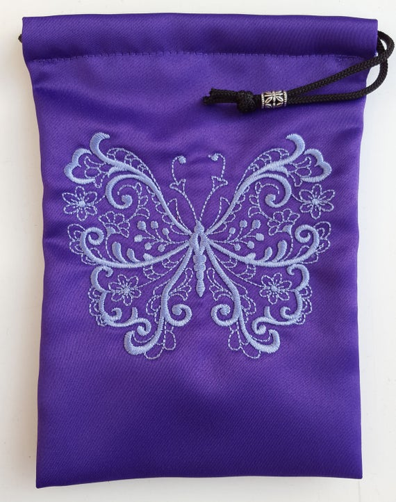 Purple Satin mini-tote bag with embroidered butterfly
