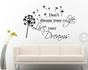 Family Wall Sticker, Inspirational Quote, Live Your Dreams, with Dandelion in Wind