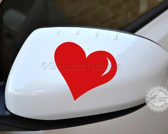 Heart Car Sticker Wing Mirror Vinyl Graphic Decal, Bumper Stickers X 2