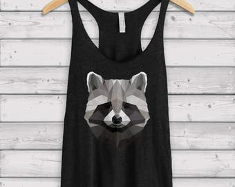 Raccoon Tank / Geometric Print / Festival Clothing / Girlfriend Gift