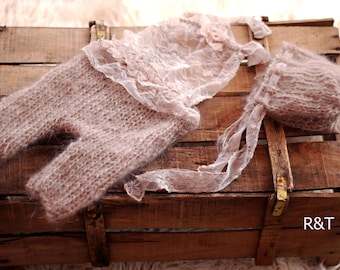 RTS Mohair Knitted baby romper and bonnet set.Newborn Bonnet Set - Baby Bonnet - Baby Romper - Newborn Photo Prop - Baby Photo Prop
