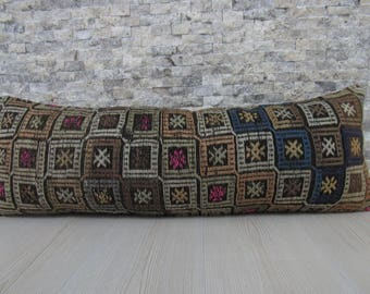 Kilim Cushion 12x36 Decorative Kilim Pillow Bolster Pillow Euro Sham Pillow Boho Pillow Kilim Pillow 12x36 Home Decor Bohemian Pillow Lumbar