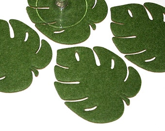 Summer Party Palm Leaf Coasters in 4mm Thick Vegan Friendly Felt Botanical Tropical Decor Leaves Extra Large Absorbent Drink Coaster Set