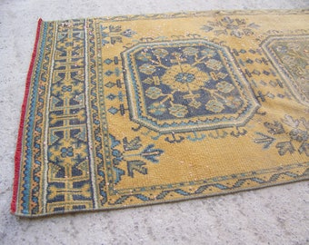 Turkish Vintage Runner Rug, Brownish Yellow Runner Rug, Kitchen Runner Rug, Decorative Runner Rug, Handmade  2'9''x 10'2'' - 91 x 312 cm