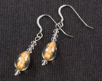 Sterling Silver and and Gold Lampwork Glass Earrings