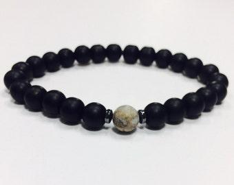 Onyx bracelet,onyx and grey amazonite stone beacelet,onyx amazonite bracelet,matt onyx bracelet,matt onyx amazonite bracelet,onyx amazonite