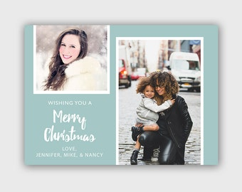 Christmas Card Template - Christmas Photo Card - Photoshop template - INSTANT DOWNLOAD