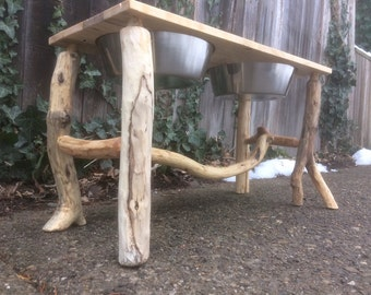Reclaimed Pine Wood Dog Bowl Stand