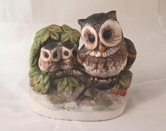 Vintage Ceramic Owls Figurine - Horned Owl & Owlets on a Log in Mint Condition - Mother and Babies