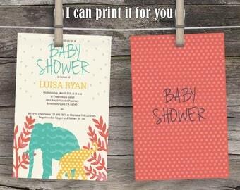 Elephants in Nature Baby Shower Invitation, gender neutral invite, Custom Baby Shower Invitations, BabyShower Invitation, Boy or Girl