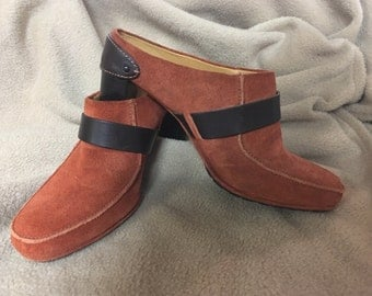 Vintage shoe, Hippie, Boho style, Size 6 1/2, Cole Haan, suede, rust, brown, Mule, chunky heel, never worn.  Made in Brazil  NEW LOWER PRICE