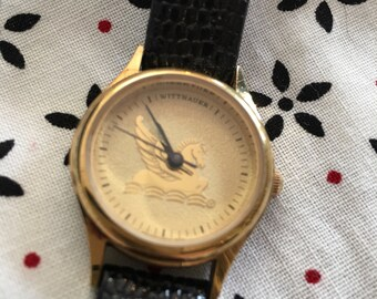 Wrist watch, Wittnaur, genuine leather strap, Pegasus, gold, FREE SHIPPING