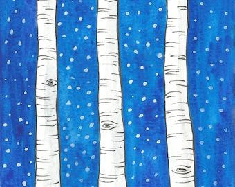 Snowy night with birch trees
