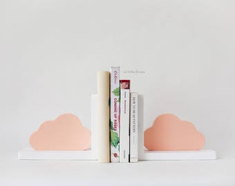 cloud bookends,pink bookends,children's bookends,cloud,kids bookends,nursery decor,wooden bookends, woodland nursery,cloud decor,cloud shelf