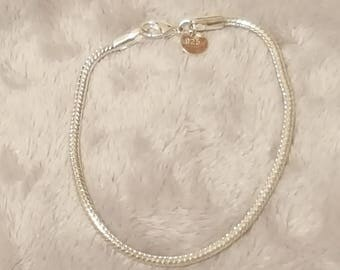 Sterling silver plated 3mm snake chain bracelet