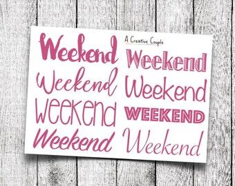 Pink Weekend Planner Stickers