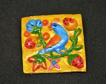 Brooch made of polymer clay, Russian pattern, Russian ornaments, painted by hand.