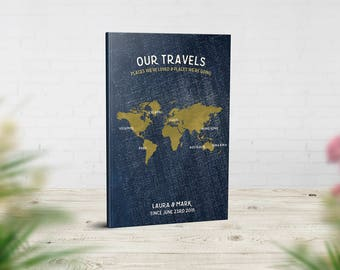 Travel Journal, Bucket List Notebook, Our Adventures Book, Places We've Been Book, Travel Lovers Gift, Denim Gold World Map, Our Travels Map