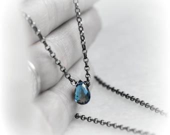 London Blue Topaz Necklace, Tiny Topaz Necklace, Gift for Her, London Blue Topaz Jewelry, London Blue Topaz Necklace, Handmade by Blissaria