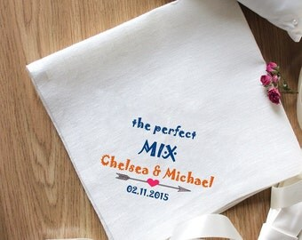 """Beautiful Embroidery for Special Occasion """"The Perfect MIX"""" Napkins Set of 2 Napkins Eco Friendly Napkins Natural Wedding Embroidery"""
