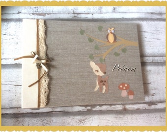 """Album """"little Fawn"""" birth lin and pastel tone orange and ivory"""