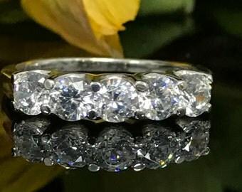 3.00 CTW Anniversary Wedding Band 14k White Gold with Simulated Diamonds. Item #4439