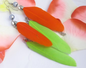 Feathers earrings double green/orange, green, yellow
