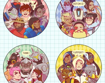 """OVERWATCH CLASSES - 2.25"""" buttons"""