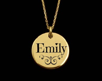 NAME NECKLACE, gold name necklace, gold disc necklace, gothic style necklace, gold gothic style name necklace, name pendant