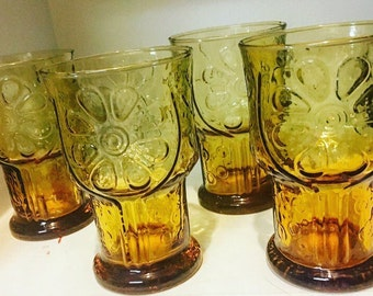 "Set of Four Vintage Amber-colored Libbey ""Country Garden"" Daisy Pattern Juice Glasses"