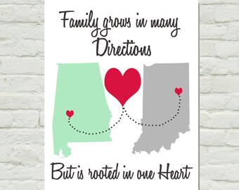 Personalized Custom Family Map Family Grows in Many Directions But is Rooted in One Heart