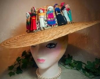 Guatemalan Worry Dolls Around the Crown of this Ladies Vintage Brown Wide-Brim Straw Hat