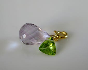 Amethyst gemstone briolette faceted Peridot pendant gold plated