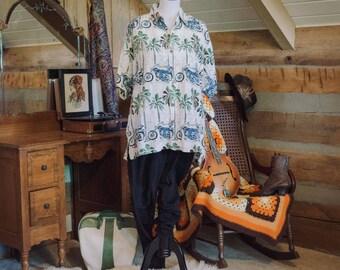 SALE was 28 - Vintage shirt -  motorcycle print Hawaiian shirt