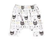 baby harem shorts, shorts, cat harem shorts, black and yellow cat shorts, gender neutral shorties, hipster baby shorts