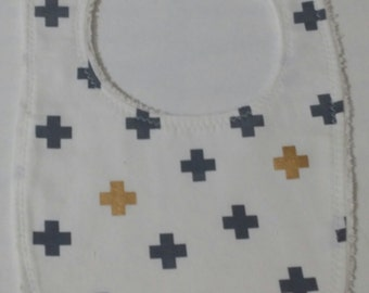 100% CottonBaby Bib - White with Navy and Gold Crosses