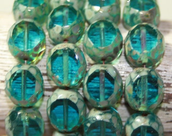 Czech Glass Beads, Faceted Table Cut, 12mm, 10 Beads