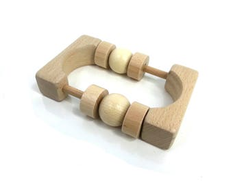 Wooden rattle Montessori, baby wooden toy rattle