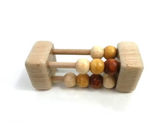 Rattle beads multicolor wood, Montessori inspired