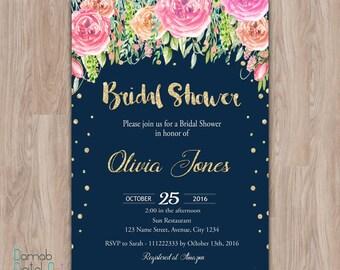 navy bridal shower invitations, Floral Bridal Shower Invitation, bridal shower invitation printable, navy and gold, bridal shower invites